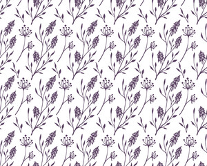 seamless pattern with herbs, flowers and leaves, background with decorative, botanical elements, stylized vector graphics