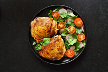 Fried Chicken Thighs With Vegetables
