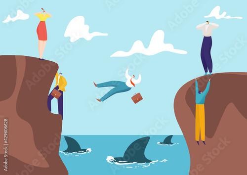 Papel de parede Concept business risk, businessman and businesswoman competition venture, entrepreneur fall abyss with shark flat vector illustration