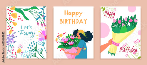 Foto Let party happy birthday card set, gift bouquet flower to beautiful woman character hold blossom souvenir flat vector illustration
