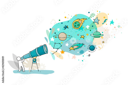Foto Sketch illustration - man with telescope.