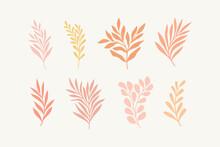 Set Of Vector Floral Elements. Hand Drawn Leaves Isolated. Botanical Illustration For Decoration, Print Design.