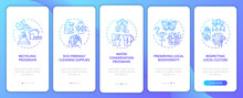 Green Hotel Features Onboarding Mobile App Page Screen With Concepts. Water Conservation Programs Walkthrough 5 Steps Graphic Instructions. UI, UX, GUI Vector Template With Linear Color Illustrations