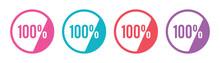 100 Percent Symbol. Colored Hundred Percent Symbol