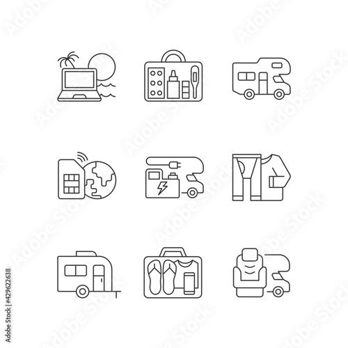 Billede på lærred Travel linear icons set