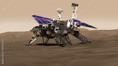 Vászonkép Artist depiction of the first Mars rover mission from China
