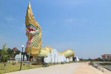 YASOTHON, THAILAND Statue Of Phaya Kan Kark (The Toad King) In Yasothon, Thailand. Landmark Building Constructed In Shape Of Naga (serpent)