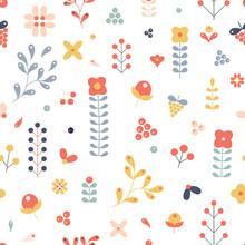 Scandinavian Folk Art Style Pattern Design. Folk Style Colorful Wildflowers And Berries Seamless Repeat.