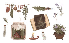 Set Of Isolated Green Witch Stickers  - Forest Herbs And Mushrooms, Home And Comfort, Books And Herbarium, 2d Illustration