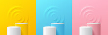 Set Of Steps Yellow, Blue, Pink, White Cylinder Pedestal Podium. Emboss Ring Shape With Pastel Color Backdrop. Abstract Vector Rendering 3d Shape. Product Display Presentation. Minimal Wall Scene.