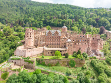 Aerial View Of Heidelberger Schloss, A 16th Century Ruined Castle On A Hillside, Heidelberg, Baden-Württemberg, Germany.