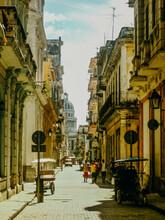 Buildings Along City Street In Havana
