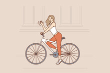 Riding Bike And Street Activities Concept. Smiling Pretty Hipster Slim Girl With Long Brown Hair Riding Fixed Gear Bicycle And Waving Hand Vector Illustration