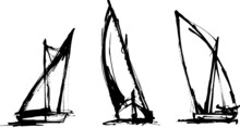 Traditional Sailing Boat, Felucca, Latin Sail. Vector Illustration.