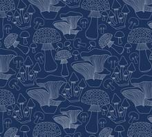 Seamless Mushroom Print, Blue And White.