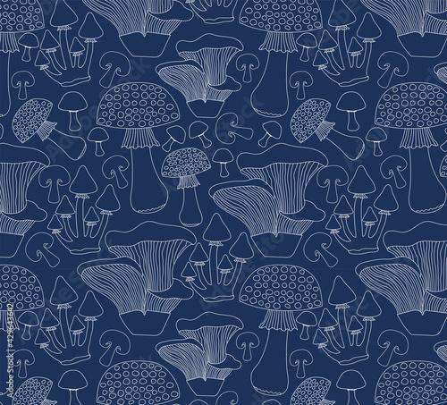 Obraz na plátně Seamless mushroom print, blue and white.