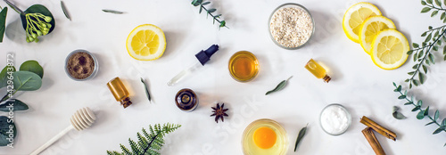 Fotografiet Home cosmetics banner of natural organic ingredients for homemade face and body care products