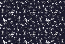 Vintage Floral Background. Floral Pattern With Small White Flowers On A Navy Blue Background. Seamless Pattern For Design And Fashion Prints. Ditsy Style. Stock Vector Illustration.