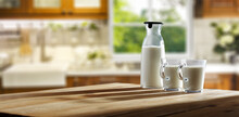 Fresh Cold Milk In Kitchen And Window Background