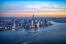 Aerial View Of Lower Manhattan And Hudson River At Sunset, New York City, USA