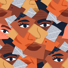 Diverse People Face Photo Collage Seamless Pattern