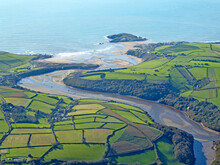 Aerial View Of The River Avon And Bigbury Beach In Devon