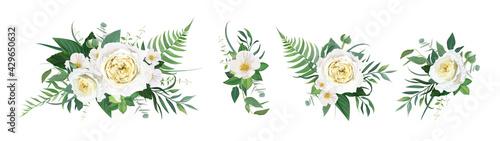 Vector floral bouquet watercolor illustration. Yellow garden rose, white camellia flower, green tropical eucalyptus leaves, fern, ranunculus illustration. Elegant editable wedding designer element set - fototapety na wymiar