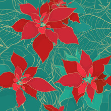 Christmas Poinsettia Green Red Seamless Pattern