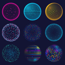 Dotted Neon 3d Sphere. Abstract Atomic Dotted Spheres, 3d Grid Glowing Spherical Shapes Vector Illustration Set. Digital Neon Sphere Balls