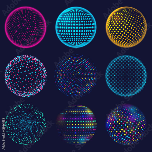 Canvas Print Dotted neon 3d sphere