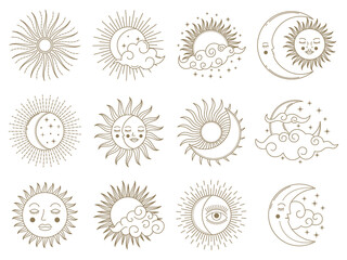 Magical moon and sun. Golden boho astrology elements, sun, moon, stars and clouds vector illustration set. Mystical astrology day and night symbols