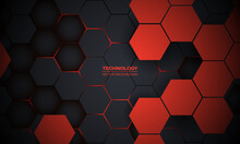 Red And Dark Gray Hexagonal Technology Abstract Vector Background. Red Bright Energy Flashes Under Hexagon In Futuristic Modern Technology Background Vector Illustration. Black Honeycomb Texture Grid.