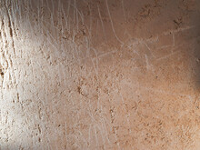 An Ancient Method Of Plastering With Clay. Old Clay Wall. Last Century. Old Plaster Background.