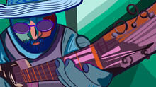 Illustration Of Man Playing Guitar, Cubism Concept Art And Glasses