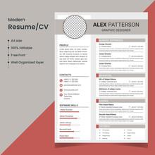 Clean Resume /CV Template; Modern Resume/CV Vector Template; A4 Size Resume/CV Template