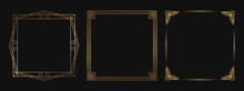 Set Of Golden Decorative Frames. Isolated Art Deco Line Art Borders With Empty Space.