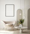 canvas print picture mock up poster frame in modern interior background, living room, Art Deco style, 3D render, 3D illustration