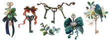 Rich Antique Keys, Jewelry Compositions, Brooches, Bows, Keys, Flowers, Bird. Watercolor And Gouache Painted Elements For Retro Vintage Design