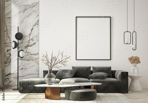 mock up poster frame in modern interior background, living room, Art Deco style, 3D render, 3D illustration