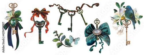 Fotografie, Obraz Rich antique keys, jewelry compositions, brooches, bows, keys, flowers, bird