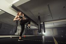 Young Adult Sexy Woman Doing Back Leg High Kick During Kickboxing.