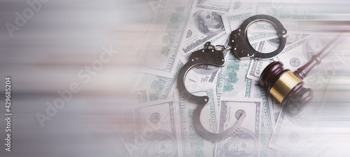 Canvas Print money and handcuffs bribery of the authorities