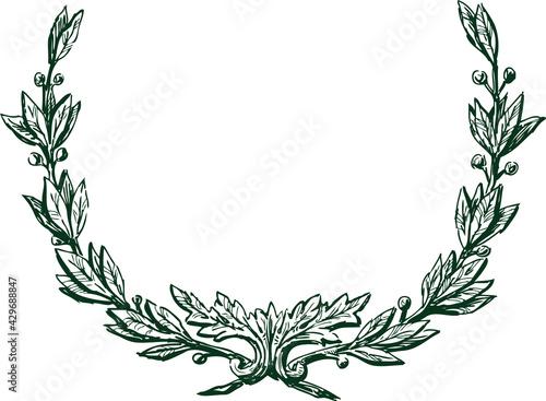 Canvas Print Freehand drawing of vintage triumphal laurel wreath