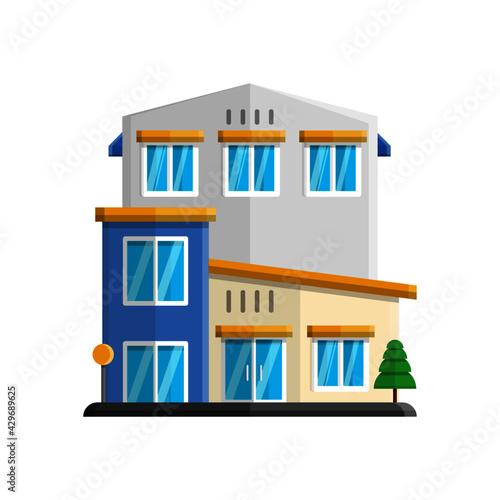 Fototapeta vector illustration of house decorated with tree elements obraz na płótnie