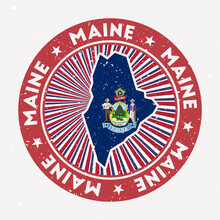 Maine Round Stamp. Logo Of Us State With State Flag. Vintage Badge With Circular Text And Stars, Vector Illustration.