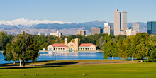 City Park Denver Panorama On A Summer Day With Snow Capped Mount Evans In The Background And Geese In The Foreground