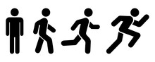 Man Stands, Walk And Run Icon Set. People Symbol. Person Standing, Walking And Running Illustration. Run, Walk, Stand. Vector Illustration