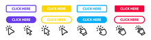 Click Here Button With Hand Or Mouse Cursor. Click Button. Modern Action Button. Computer Mouse Cursor Or Hand Pointer Symbol. Set For Button Website Design