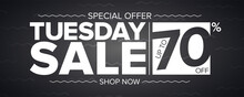 Tuesday Sale Banner. Special Offer Sale Discount