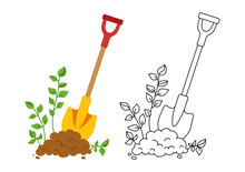 Shovel In Ground Set Black Line Icon, Cartoon Style. Work Tool For Outdoor Activities Digging Symbol. Rural Gardening, Construction Equipment Collection. Hand Drawn Garden Concept Vector Illustration